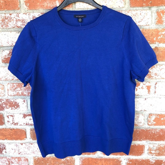 Lands' End Blue Short Sleeve Crew Neck Sweater Top